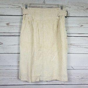 🛍 Golden Line beige pinstripe front zip skirt